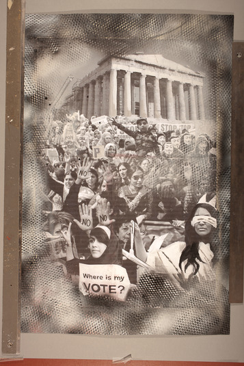 "This collage, entitled ""under construction"", uses recycled newsprint and elements of graffiti to bring bring diverse political protests together on the Acropolis."