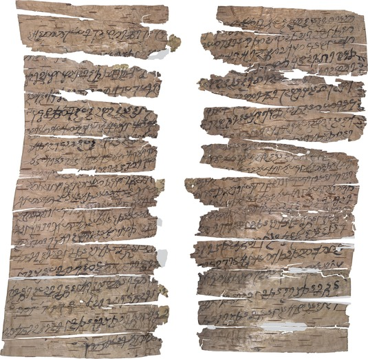 The manuscripts come in different formats. The birch-bark scroll shown here is an example of the shorter format. (Fig.: A. Glass)
