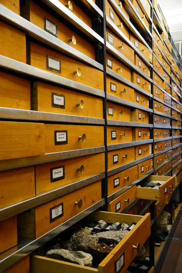 The repository maintained by the Mineralogical State Collection contains over 100,000 mineral specimens and crystals.