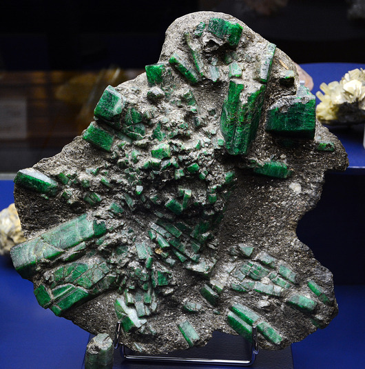 This unworked emerald deposit from Russia, once part of the collection assembled by Maximilian von Leuchtenberg, is one of the most remarkable specimens in the MSM's collection.