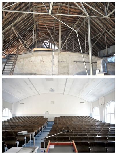 Huge expanses of attic space form the top storey of the block of buildings that faces the Amalienstraße: Here, the ceiling of lecture-theater M 218 can be clearly seen. The roof space is primarily taken up by...