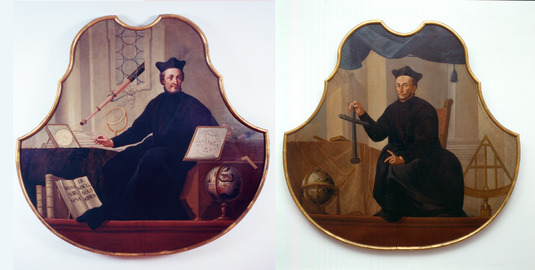 "The so-called ""bass viol"" portraits of Christoph Scheiner and Johann Baptist Cysat. The two astronomers are regarded as co-discoverers of sunspots. The portraits are on display in the City Museum in Ingolstadt (on permanent loan from LMU)."