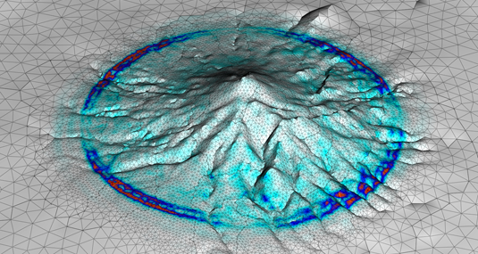 Visualization of vibrations inside the Merapi volcano – Image: Alex Breuer (TUM) / Christian Pelties (LMU)