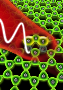 A laser pulse hits a two-dimensional layer of graphene and dislocates the electrons of the carbon ions. Graphic: Christian Hackenberger