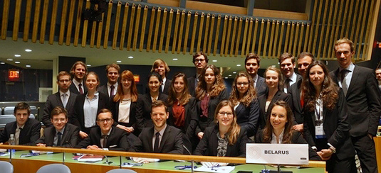 The university team of LMU at the National Model United Nations in New York.