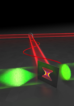 Pulses of electrons (green, coming from the left) impinge on a micro-structured antenna which is powered by laser-generated terahertz radiation (red). The interaction compresses the duration of the electron pulses to a few femtoseconds. Graphics: Christian Hackenberger