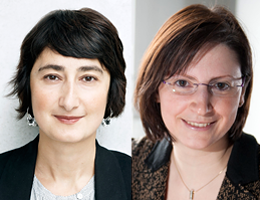 On the right, Professor Katia Parodi; on the left, Professor Burcu Dogramaci (Photo: Simone Scardovelli)