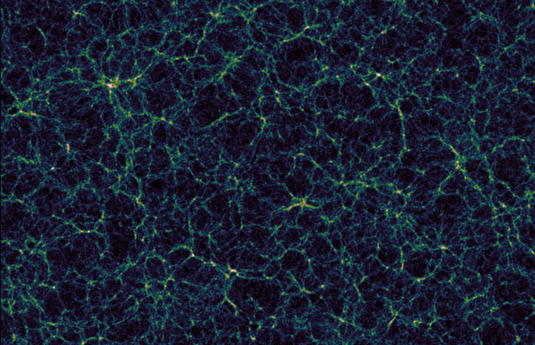 The simulation pictured shows the distribution of dark matter in our universe: The galaxies are not distributed uniformly, but rather along the edges of vast empty regions. These massive structures resemble a cosmic web, as Hamaus showed in a model in 2014, describing the density profile of cosmic voids. (Illustration: Nico Hamaus, LMU)