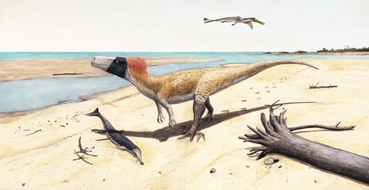 Artist's impression of W. albati. The dinosaur is shown together with other organisms whose fossil remains were recovered in the same locality. Picture: Joschua Knüppe