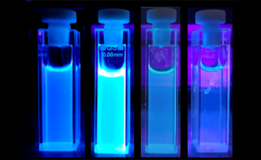 Cuvette with blue-luminescent carbon dots. Source: S. Bhattacharyya