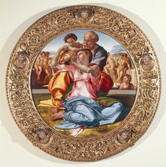 Commissioned for the bedchamber: Michelangelo's Doni Tondo was intended to reassure its sponsors that their unbaptized children had not been condemned to eternal torment.