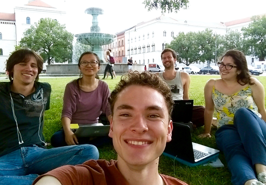 Working outdoors on a sunny day paid off for Biology student Benedikt and his team-mates.