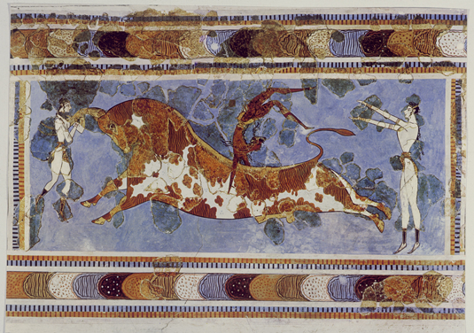 The Bull-Leaping-Fresco from the Great Palace at Knossos, Crete. Capture: akg-images