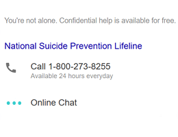 Example Screenshot of a Suicide Prevention Result