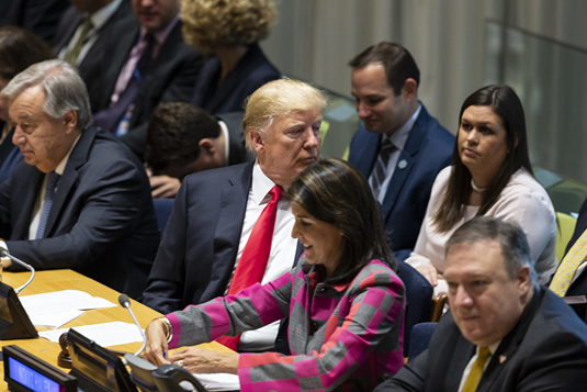 Not exactly a fervent supporter of the existing international order: US President Donald Trump at the United Nations; on the left, UN Secretary-General António Guterres. Photo: Lev Radin/Pacific Press/Picture Alliance