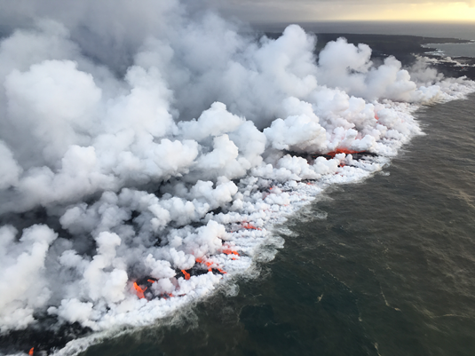 Porous volcanic rock immersed in hot water – the first RNA or DNA molecules of any significant length could have been formed in such a setting as this. Source: Picture Alliance/ABACA