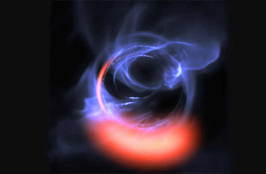 Simulation of Material Orbiting close to a Black Hole (credit: Foto: ESO/Gravity Consortium/L. Calçada)