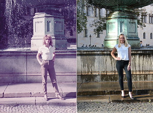 Marta Pely (1983) and her daughter Désirée-Jessica Pély (2019) at Geschwister-Scholl-Platz (left photo: Ladislav Pely, right photo: LMU)