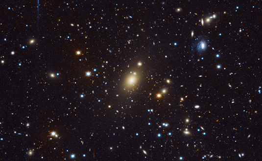 "Image of ""Abell 85"" cluster of galaxies obtained at the USM Wendelstein observatory of the LMU. The central bright galaxy Holm15A has an extended core. the mass of central black hole of this galaxy: it is 40 billion times more massive than our Sun. Photo: MPE/University Observatory Munich"