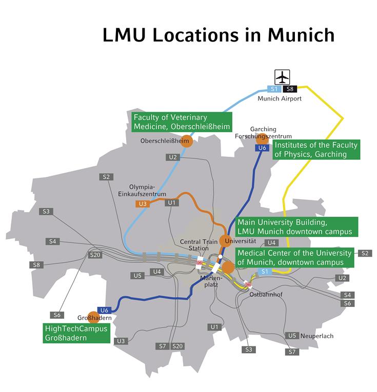 LMU locations in Munich LMU Munich
